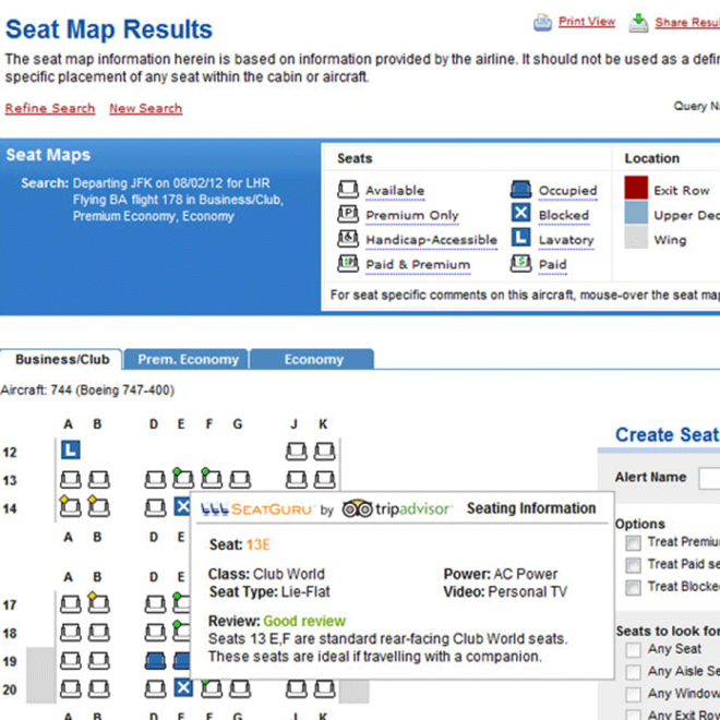 ExpertFlyer Seat Map